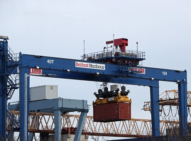 A cargo crate being moved in Belfast Port