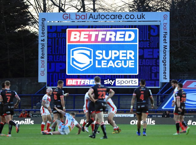 A Super League sign on the big screen at Headingley