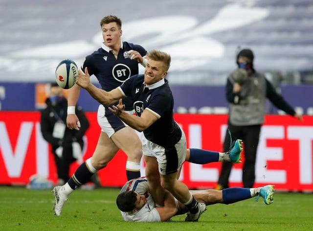 Duhan Van Der Merwe in action against France