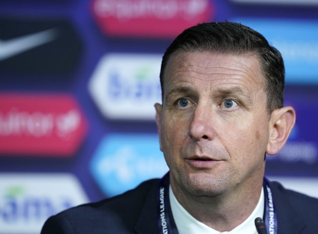 Ian Baraclough during a press conference