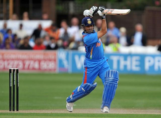 India's Sachin Tendulkar playing a cover drive