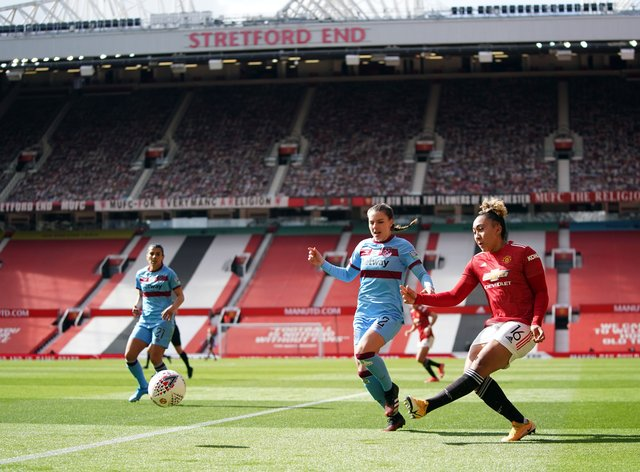 Manchester United's Lauren James shoots during the match at Old Trafford
