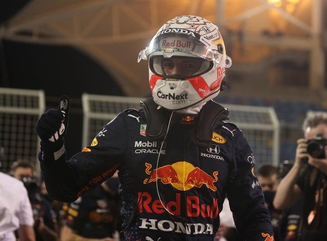 Max Verstappen celebrates pole in Bahrain