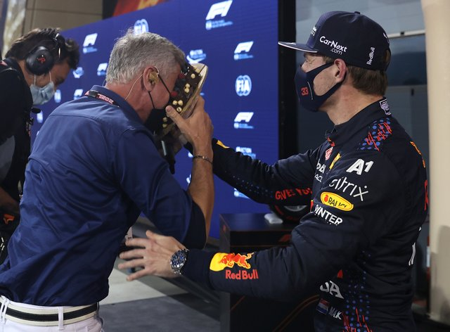 Max Verstappen throws a chocolate cake in David Coulthard's face
