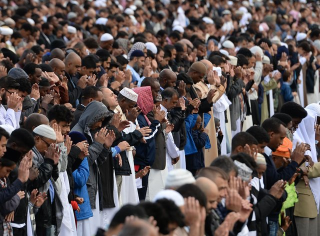 Muslim worshippers in prayer