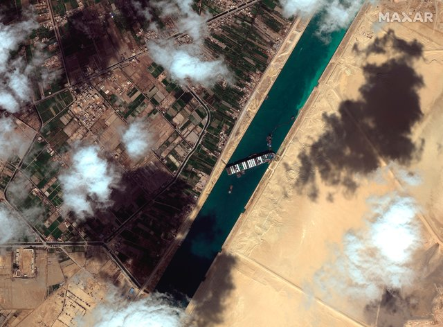 Satellite image of the cargo ship Ever Given blocking the Suez Canal