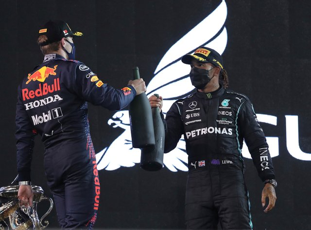 Lewis Hamilton, right, hopes for more battles with Max Verstappen after a tight finish in Bahrain