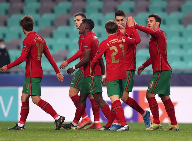 Portugal's Dany Mota celebrates his opener against England