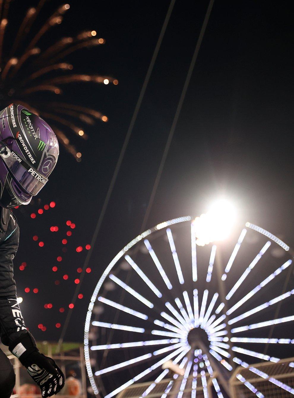 Mercedes driver Lewis Hamilton celebrated victory at the Bahrain Grand Prix