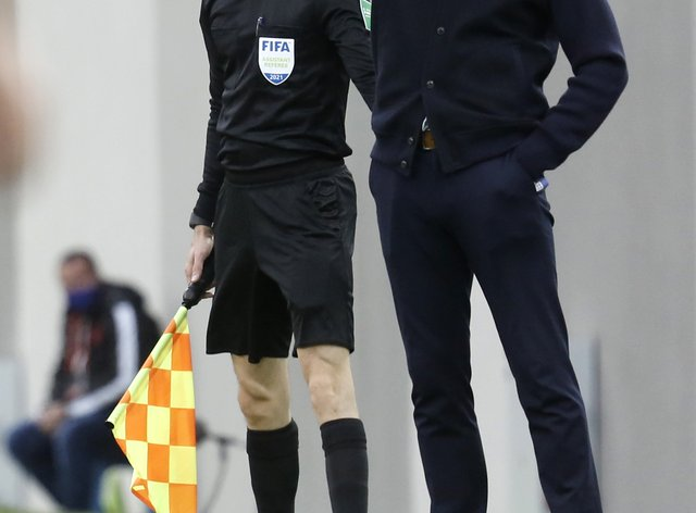Gareth Southgate points on the touchline