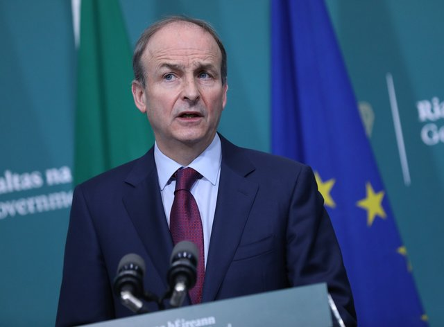 Taoiseach Micheal Martin speaking during the publication of the final text of the Climate Action and Low Carbon (Amendment) Bill (Julien Behal Photography/PA)