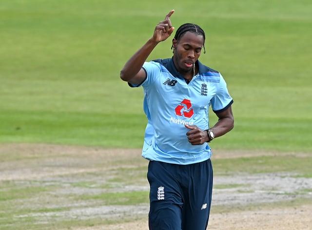 England's Jofra Archer celebrates taking a wicket