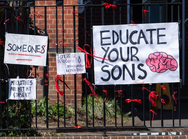 Signs outside James Allen's Girls' School, in south-east London, in the aftermath of allegations of rape culture at a number of other independent schools