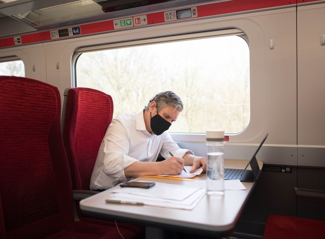 Labour Party leader Sir Keir Starmer takes the train to Hartlepool where he will campaign with the party's by-election candidate, Dr Paul Williams, during a visit to the area (Stefan Rousseau/PA)