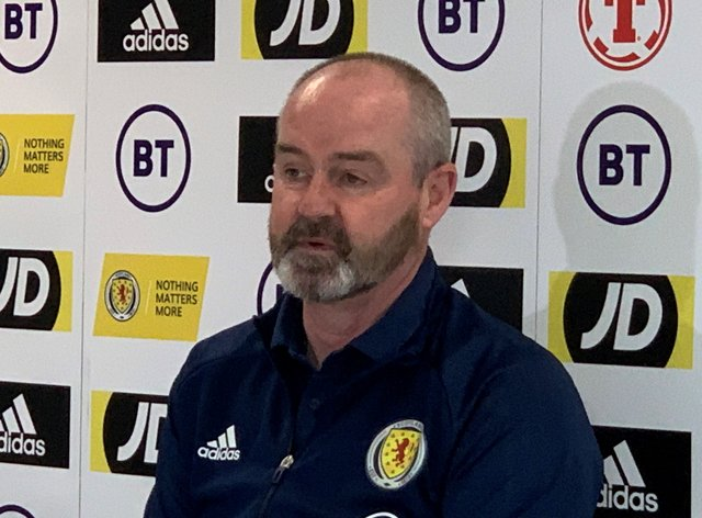 Steve Clarke during a press conference