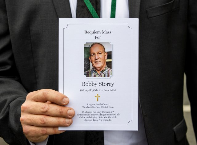 The order of service for the funeral of senior Irish Republican and former leading IRA figure Bobby Storey at Milltown Cemetery in west Belfast (Liam McBurney/PA)