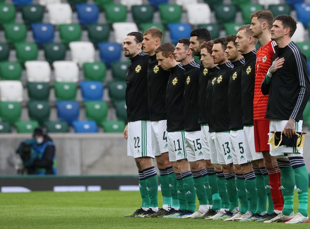 Northern Ireland line up for the anthems