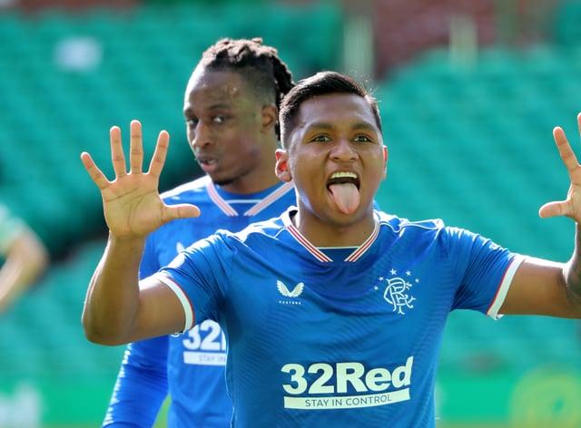 Rangers striker Alfredo Morelos celebrates netting against Celtic