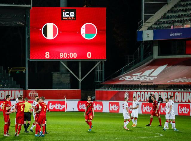 Belgium thumped Belarus 8-0