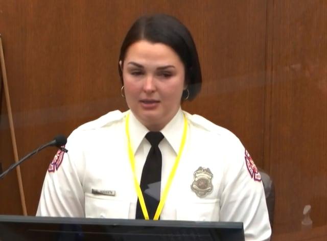 Firefighter Genevieve Hansen testifies at the George Floyd murder trial on Tuesday