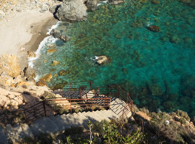 Stairs leading to lagoon in Turkey