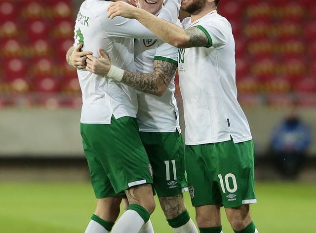 Republic of Ireland's James McClean (centre) celebrates his goal against Qatar
