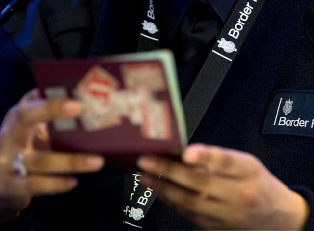 Airport passenger passport checked