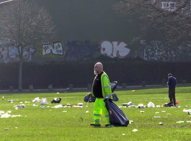 People clearing up in Endcliffe Park, Sheffield