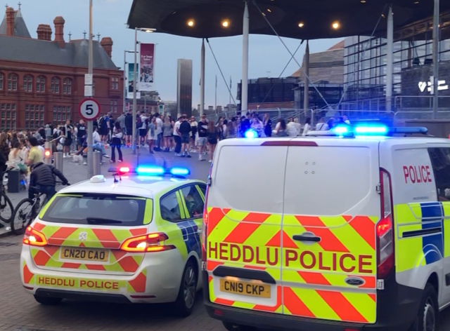 Crowds of young people gathered outside the Senedd building