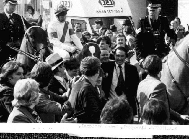 Bob Champion on Aldaniti after winning the Grand National in 1981