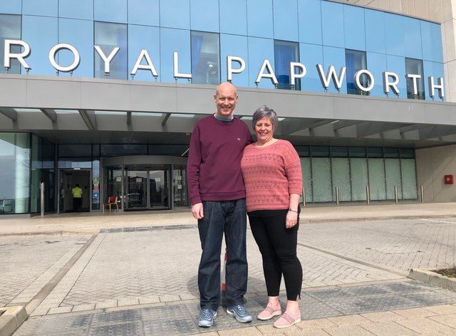Simon Panton, who had heart transplant surgery at Royal Papworth Hospital in Cambridge, with his wife Clare