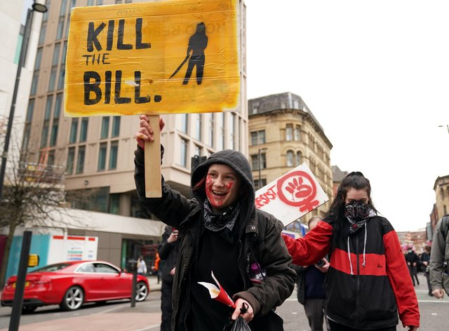 Demonstrators during the Kill The Bill protest against The Police, Crime, Sentencing and Courts Bill in St Peter's Square, Manchester on March 27