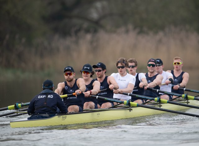 Oxford University Boat Club train on the Great Ouse near Ely in Cambridgeshire