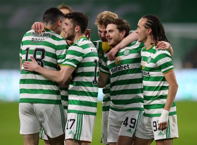 Celtic's James Forrest (second right) opens scoring against Falkirk