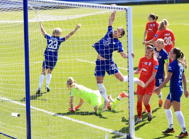 Chelsea's Sam Kerr, centre, celebrates completing her hat-trick in Chelsea Women's win against Birmingham City Women