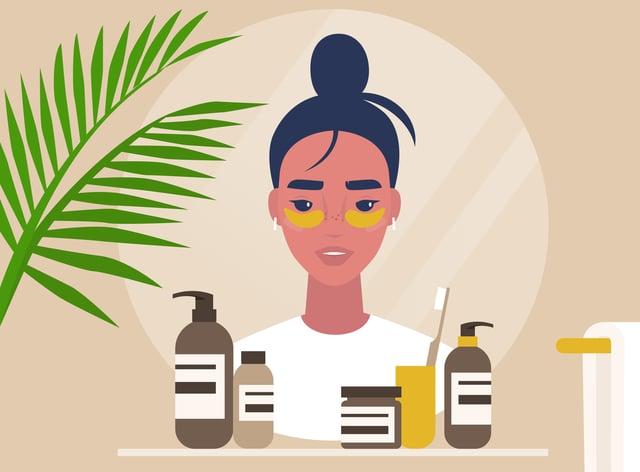 Illustration of woman doing skincare