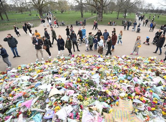 Flowers in Clapham Common in tribute to Sarah Everard