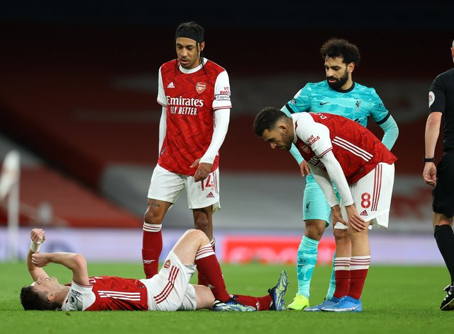 Kieran Tierney suffered knee ligament damage against Liverpool on Saturday