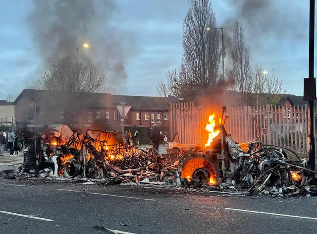 Scenes of disorder in Belfast on Wednesday night