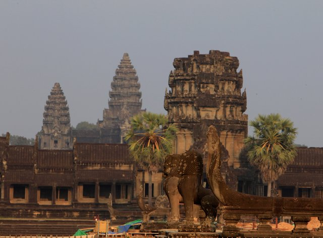 A view from outside Angkor Wat temple is seen in Siem Reap, northwestern Cambodia (Heng Sinith/AP)