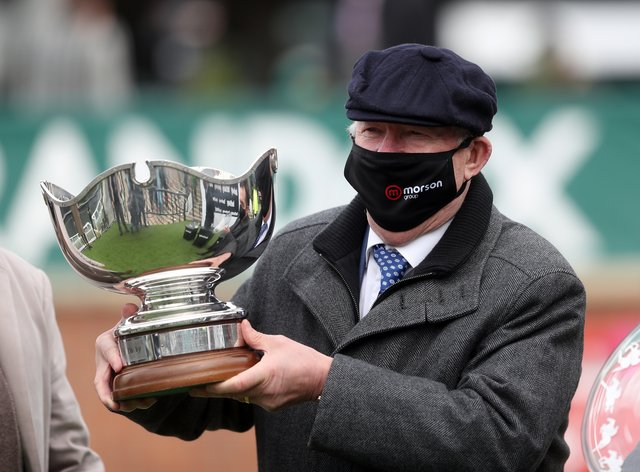 Sir Alex Ferguson with the Betway Bowl after the success of Clan Des Obeaux