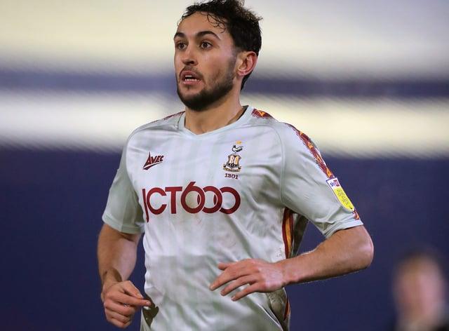 Bradford City midfielder Levi Sutton