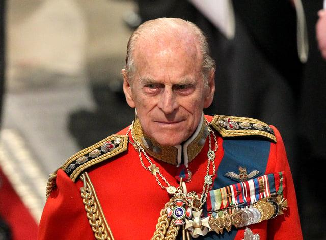 Prince Phillip, the Duke of Edinburgh leaves Westminster Abbey