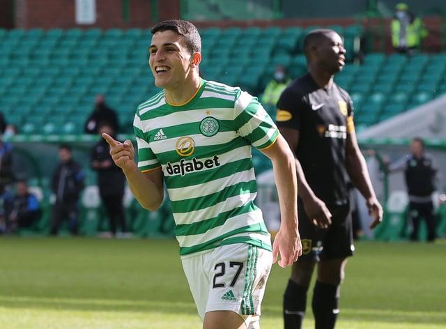 Celtic's Mohamed Elyounoussi celebrates scoring the fifth goal against Livingston