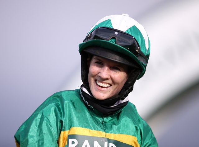 Rachael Blackmore celebrates winning the Randox Grand National Handicap Chase on Minella Times