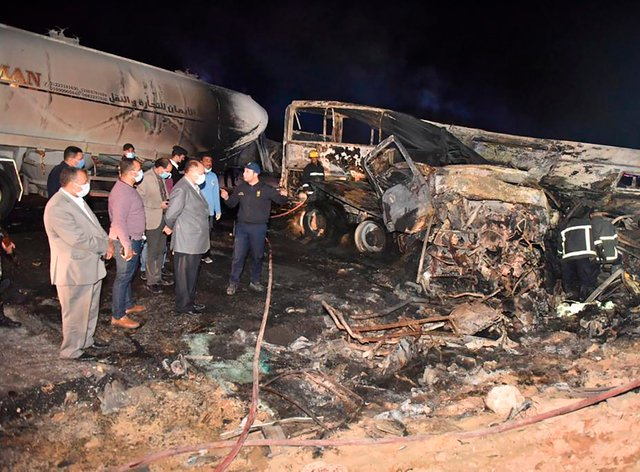 The site where a bus overturned in southern Egypt