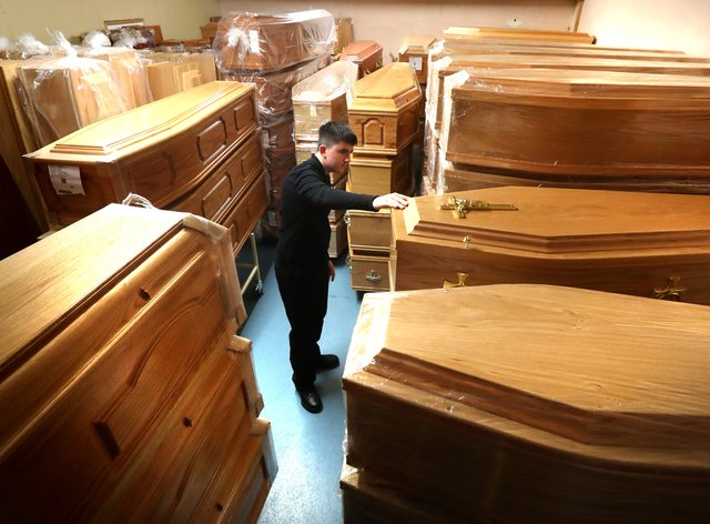 Coffins at an undertaker's