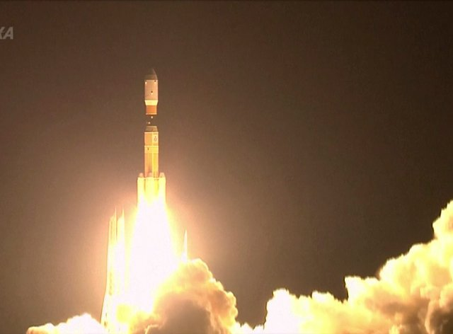 A rocket lifts off from a launch pad at the Tanegashima Space Centre in Tanegashima, southern Japan