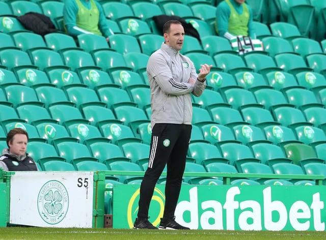 Celtic interim manager John Kennedy on the touchline