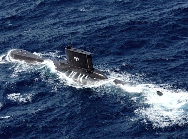 Indonesian Navy submarine KRI Nanggala in waters off East Java